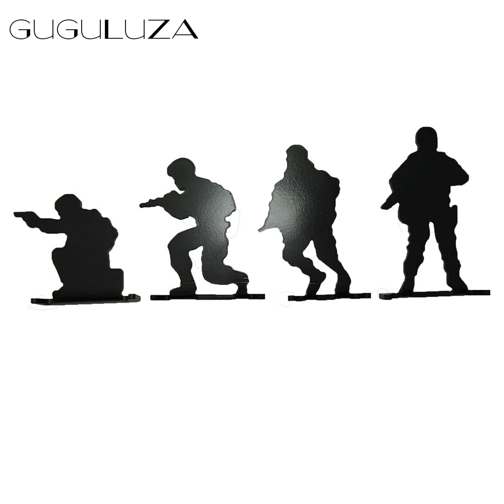 GUGULUZA 4Pcs/lot Solider Metal Shooting Target Tactical Hunting Solider Target Modle Military Shooting Training Target Exercise