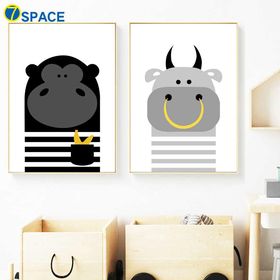 C Книги по искусству Ун обезьяна корова Плакаты и принты Nordic плакат стены Книги по искусству холст картины украшения картинки для маленьких девочек Мальчик номер декор