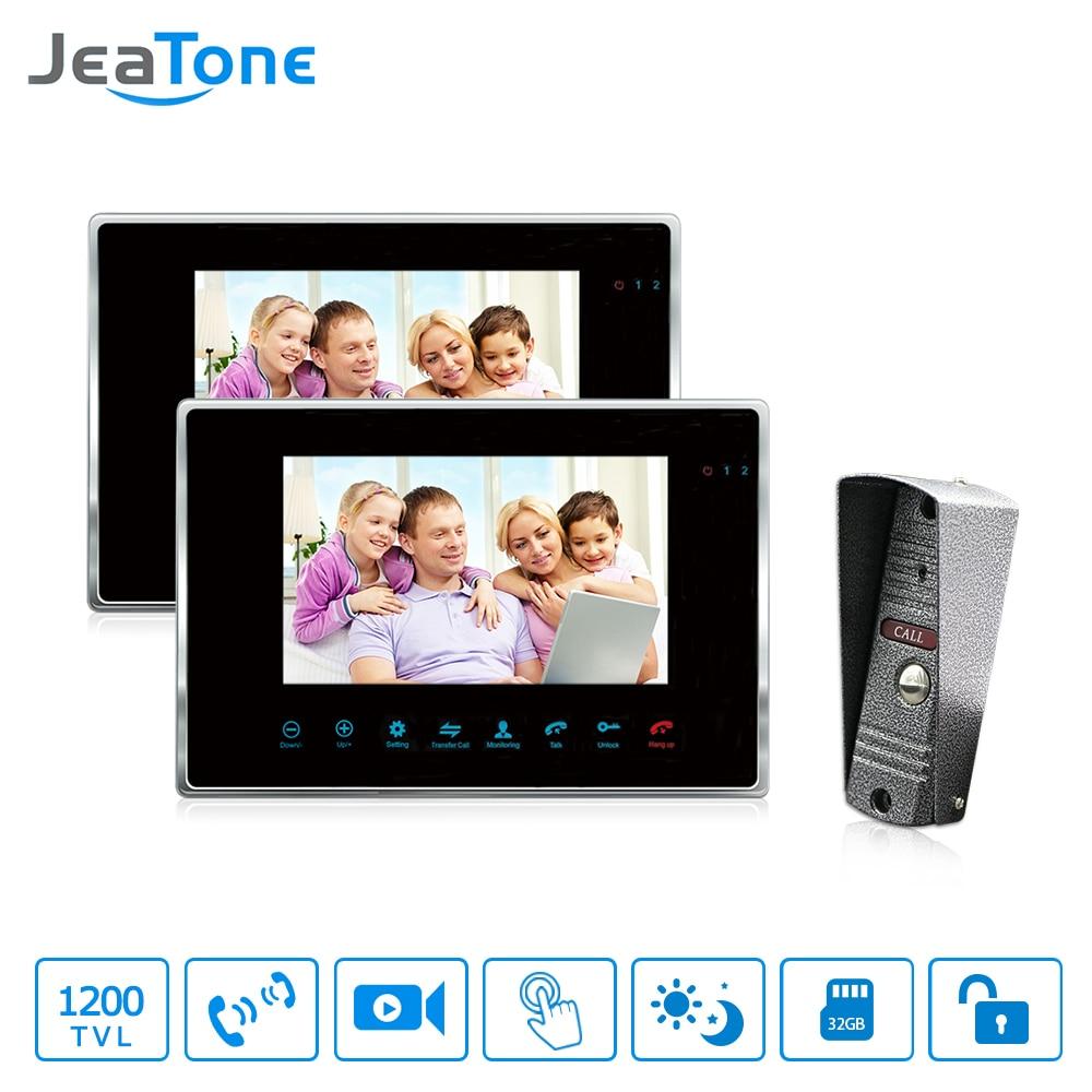 JeaTone дверной контроль доступа 7 TFT дисплей Поддержка макс 32 SD карты видео домофон с системой мониторинга видео
