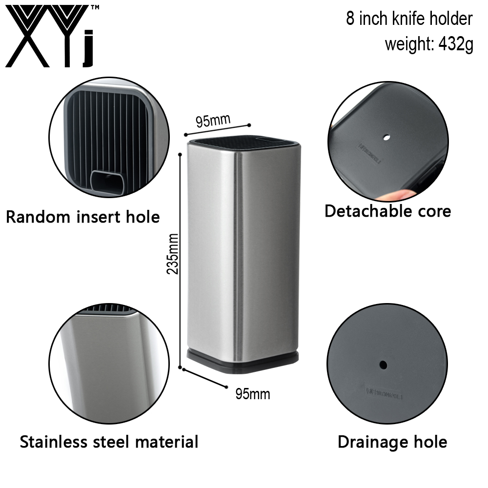 XYj 8 Inch Stainless Steel Kitchen Knife Stand Holder For Steel Knifves Creative Kitchen Block Tool Seat Holder Insert Rack