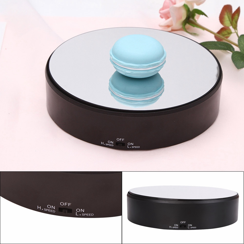18cm High Speed Low Speed Mirror Glass Top Rotating Rotary Display Stand Electric Turntable Show Holder For Watch Jewelry Camera stylish black velvet top electric motorized rotary rotating turntable for display or advertising stand 360 plastic battery