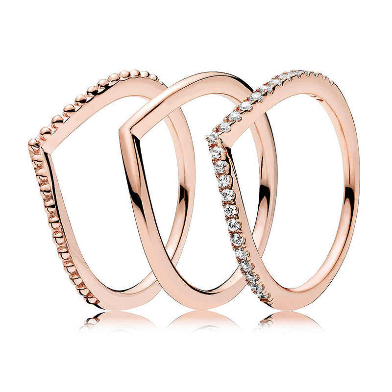 9833c4690 Authentic 925 Sterling Silver Ring Rose Wish Bone Ring Stack With Crystal  For Women Wedding Party