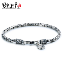 BEIER Fashion Men's High Polished 100% 925 silver sterling Safety striae Bracelet Bring Lucky Jewelry BR-SL002