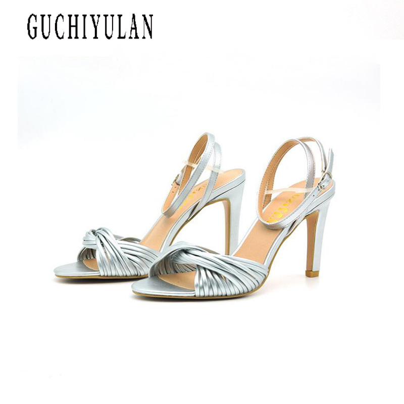 2018 Fashion Silver Gold Womens Party Platforms Chunky High Heel Wedding Bridal Shoes Summer Lady Sandals pumps ankle