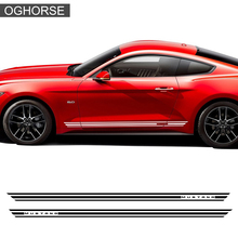 2 Pieces Rally Kit Racing Stripes Vinyl Decal Graphic Body Logo Door Side Skirt Stickers for Ford Mustang 2015-2017 Accessories