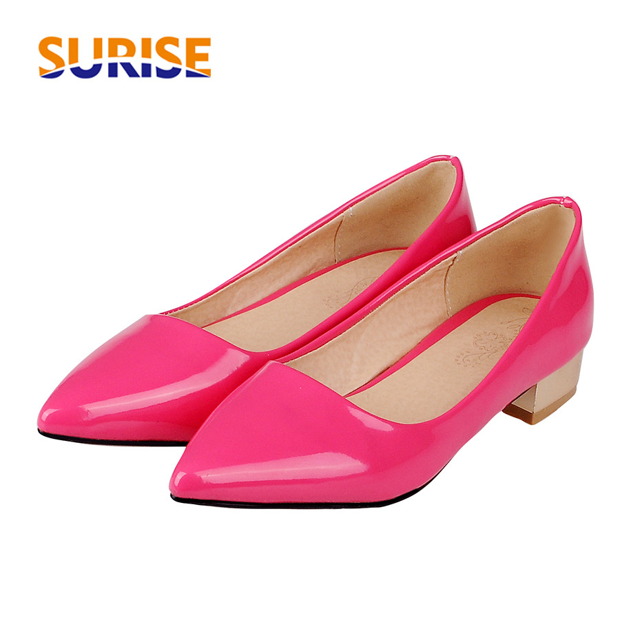 96c889f4fbde Career Women Pumps Patent Leather 3cm Low Gilt Square Block Heel Pointed  Toe Casual Office Party Wedding Pink Lady Shallow Pumps