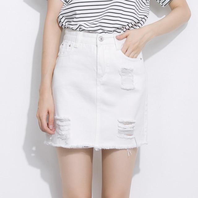 b4250bcb606a Deshilachados mini blanco falda vaquera agujero en Faldas de La ropa ...