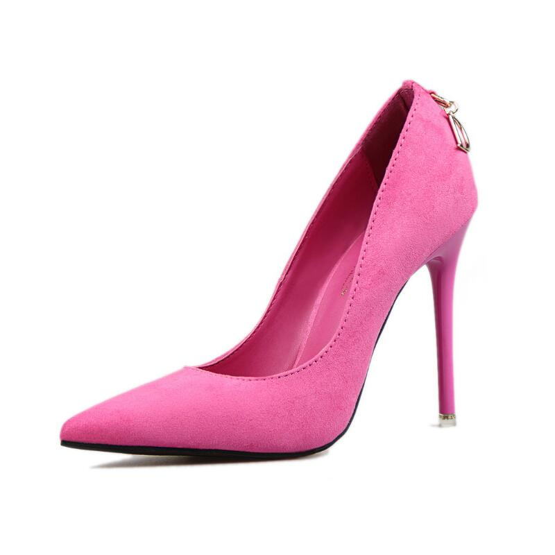 New Women Sexy High Heels Flock Pointed Toe Shallow Mouth D Word Buckle Stilettos Female Fashion Thin Pumps Party Shoes 6 Colors pumps shoes woman spring and autumn high heeled 11cm sexy shallow mouth thin heels flock pointed toe singles shoes size 35 39