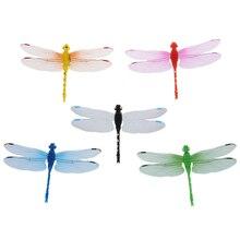 5pcs 8cm 3D Artificial Dragonflies Luminous Fridge Magnet for Home Christmas Wedding Decoration, Colors Randomly Send