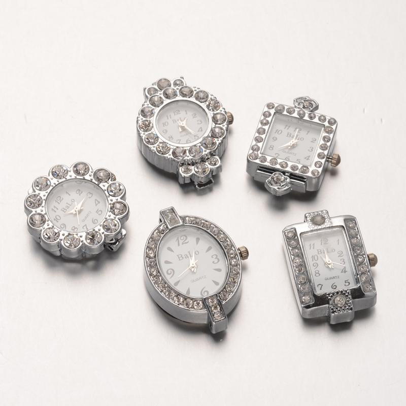 10pcs Alloy Rhinestone Mixed Shapes Watch Heads Watch Faces, Platinum, 26~34.5x19.5~26x7~8mm, Hole: 1mm