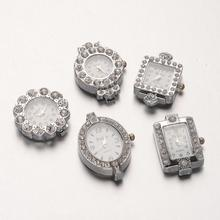 Alloy Rhinestone Watch Heads Faces, Mixed Shapes, Platinum, 26~34.5x19.5~26x7~8mm, Hole: 1mm