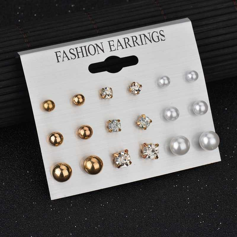 Fashion Hot 12 pairs Women Round Crystal Heart Stud Earrings for Women Piercing Imitation Pearl Earrings Set Wedding Bride Party