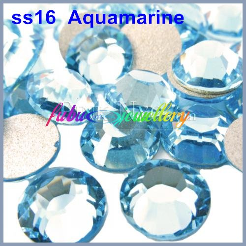 Free Shipping! 1440pcs/Lot, ss16 (3.8-4.0mm) Aquamarine Flat Back Nail Art Glue On Non Hot Fix Rhinestones