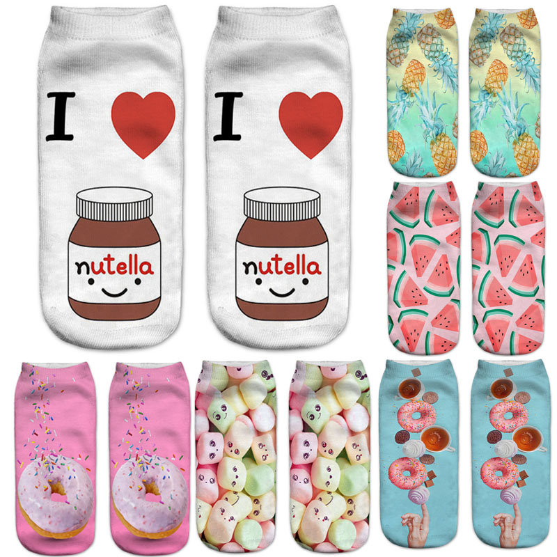 Dreamlikelin 3D Food Print Donuts Hamburger Nutella French Fries Candy Woman Socks Harajuku Women's Rainbow Sock