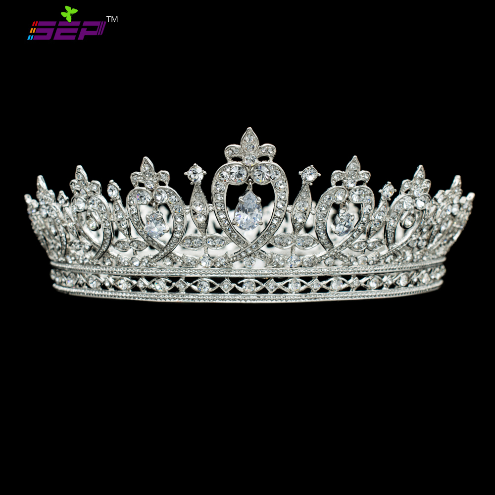 Real Bridal Tiara: Real Austrian Crystals Full Pageant Crown Dangle