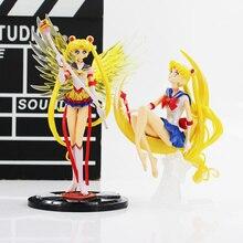 Figuras de acción de Sailor Moon Tsukino, Anime de 15cm/16cm, alas de PVC, decoración de tartas, juguete de modelo de colección, regalos para niñas