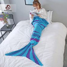 купить Parkshin Blue Strip Mermaid Throw Blanket Handmade Mermaid Tail Blanket for Adult Kid Multi Colors 2 Size Sofa Blanket Hot sale по цене 888.39 рублей