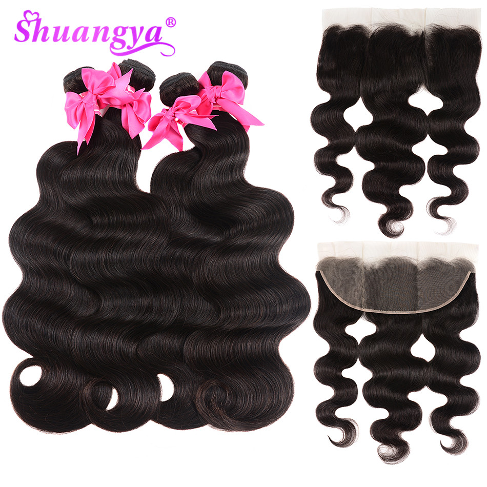 Shuangya Remy Human Hair Indian Body Wave 3 4 Bundles With Frontal Closure 13 4 Ear