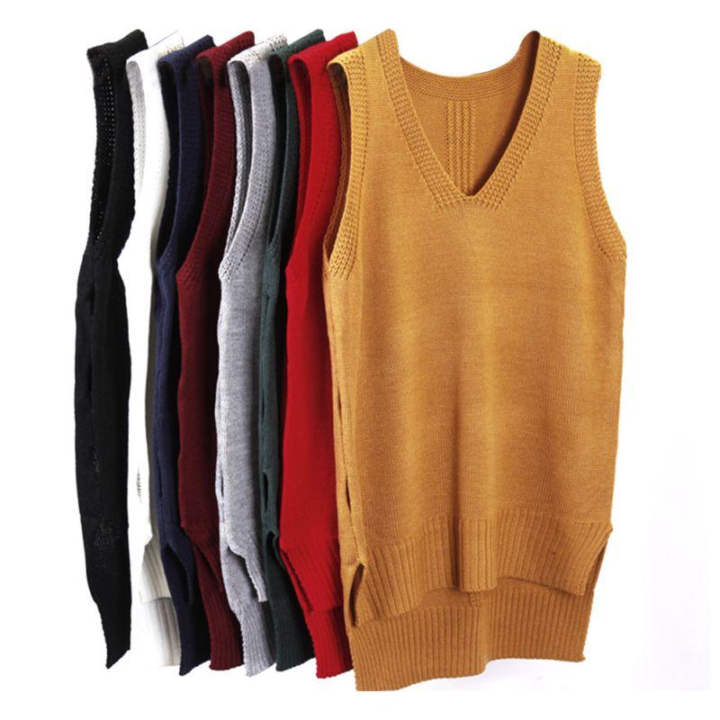 Free Knitting Pattern Ladies V Neck Vest : Autumn Sleeveless Women Sweater V neck Knitted Vest Casual ...