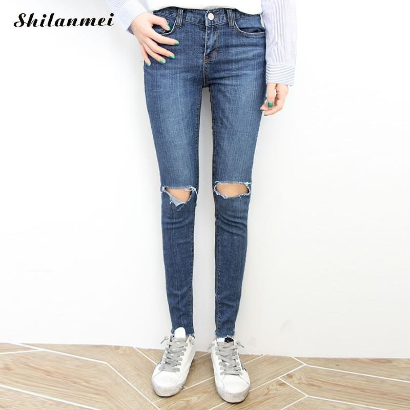 2017 Women Blue Skinny Jeans New Fall Fashion Pencil Pants Denim Strech Hole Ripped High Waist Plus Size Jeans american apparel  2017 women blue skinny jeans new fall fashion pencil pants denim strech hole ripped high waist plus size jeans american apparel