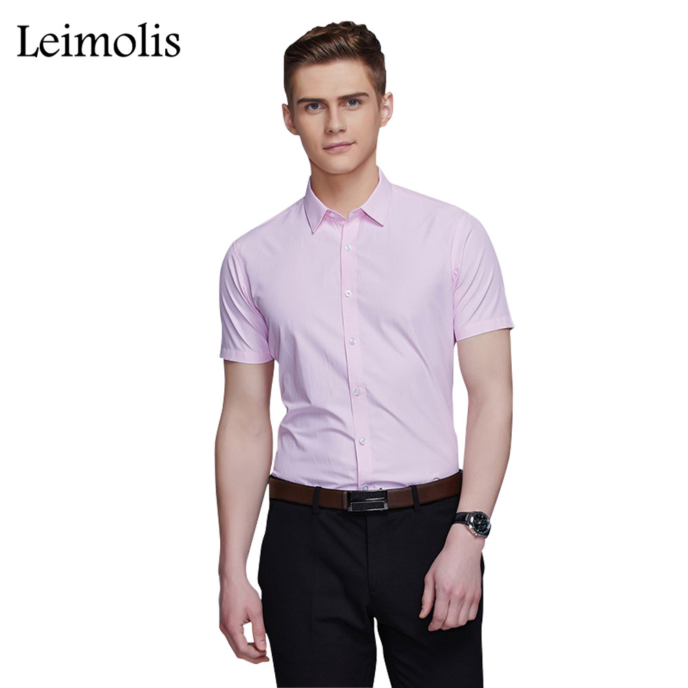 Mens Pink Short Sleeve Dress Shirt Custom Shirt