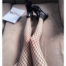 Meia-calça longa vazada com cavidade, meia-calça feminina preta arrastão para clube e festa