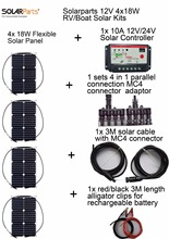 Solarparts 12V 4x18W DIY RVBoat Kits Solar System 18W flexible solar panel1x 10A solar controller 1 set 3M MC4 cable 1 set clip