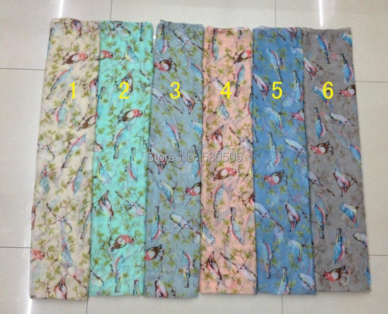 Bird Print   Scarf     Wrap   Shawl Scarfs Ladies Gift Accessories 100pcs/lot Free Shipping