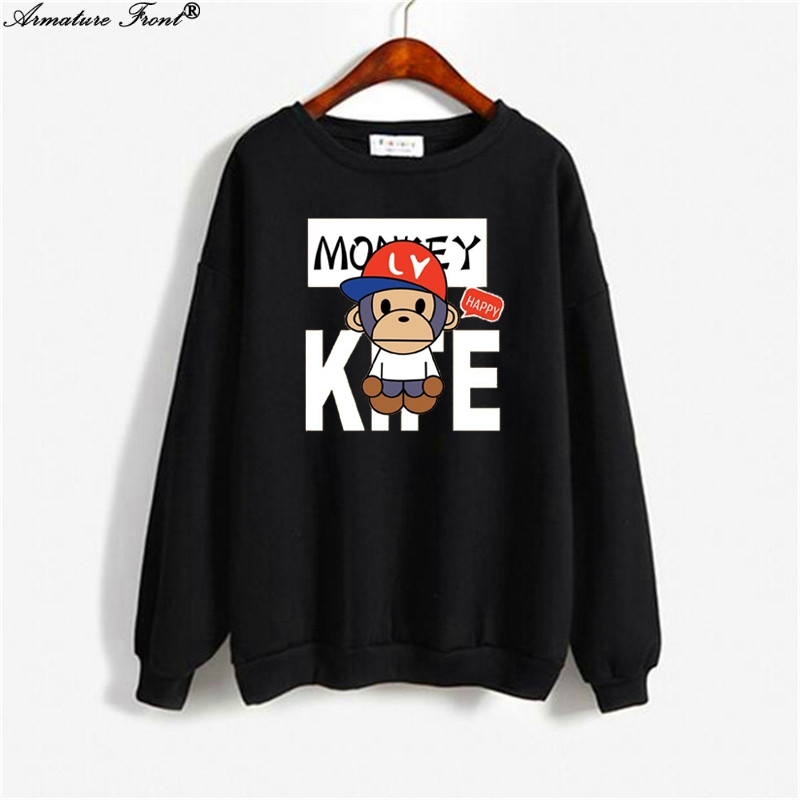 Cute Cartoon Monkey Letter Print Bts Hoodie Spring 2019 Autumn Women Clothes Sweatshirt Plus Size Gothic Tops Black Hoodies Y103 Street Price Women's Clothing
