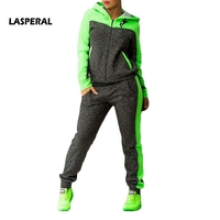 LASPERAL Fitness Women Yoga Set Autumn Color Patchwork Hooded Sweater Pant Sports Women Suit Athleisure Set