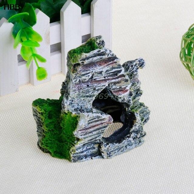 Mountain View Rockery Aquarium Rock Cave Tree Bridge Fish Tank Ornament Decor#T025#