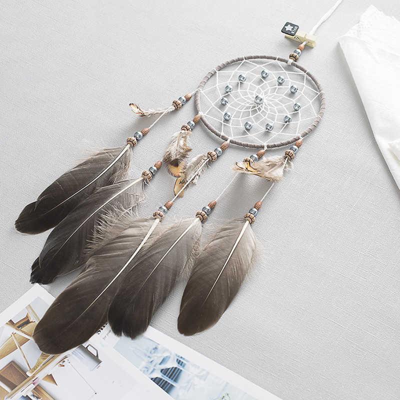 สร้างสรรค์ใหม่ Nordic Dream Catcher บ้านผนังเด็กตกแต่งห้อง Simple ลมระฆังแขวน Feather จี้ Dream Catcher