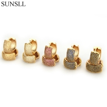SUNSLL Golden Color Copper Pins Multicolor Cubic Zirconia Hoop Earrings Women's Fashion Party Jewelry Cobre CZ Brincos