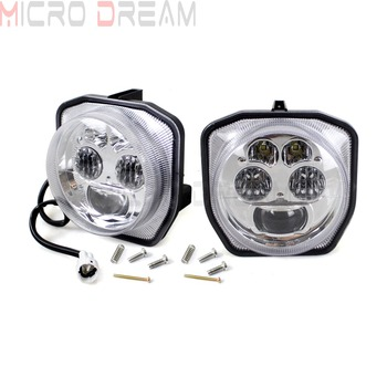 1 Pair LED Headlight Chromed Front High & Low Beam Lights For Yamaha ATV  Grizzly 700 EPS  4WD Hunter/LTD Edition/SE  2016 2017 2