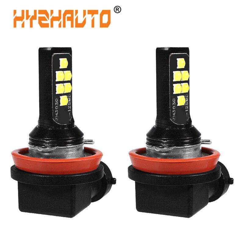 HYZHAUTO 2Pcs H8 H11 Car LED Fog Light Bulbs White Yellow Upgrade 3030 LED Auto Head Fog Lamp DRL 1200Lm 12-24V
