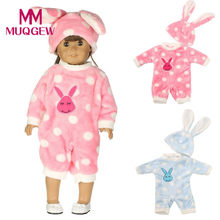 Drop ship Bunny Jumpsuit Cap Pajama Clothing For 18 inch Our Generation Girl Doll Clothing baby born doll accessories(China)
