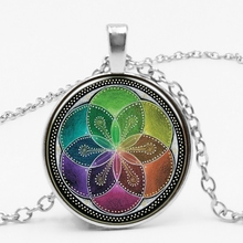 LETS SLIM Chinese Retro Alloy Glass Life Flower Time Pendant Necklace To Map Private Custom