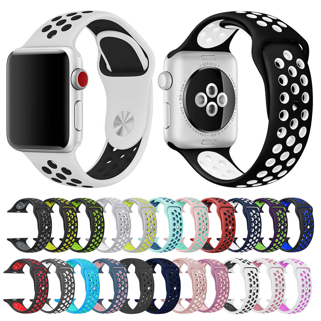 Soft Silicone Replacement Wristband for Apple Watch Series 1 2 3 Breathable hole iwatch band 42mm iwatch watchband 38mm strap