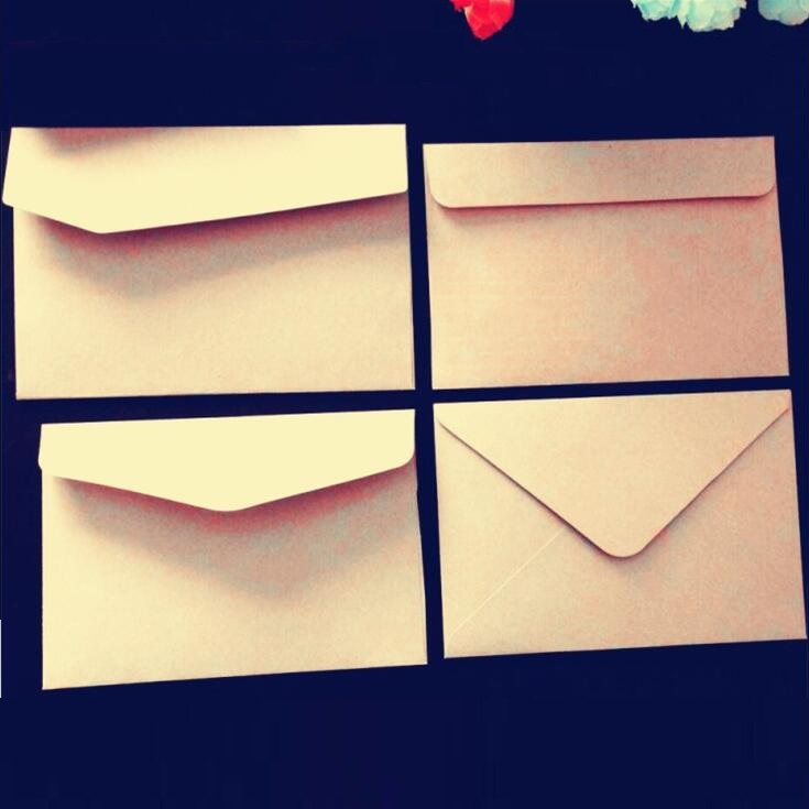 100pcs/lot Vintage Blank Kraft Paper Envelope Simple Gift Small Paper Bag For Party Messaage Card Students' DIY Tool