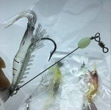 3pcs/lot fishing lure Built-in Hook luminous Bait Shrimp kit Noctilucent Shrimp  winter fishing fishing sea lure Sabiki Soft
