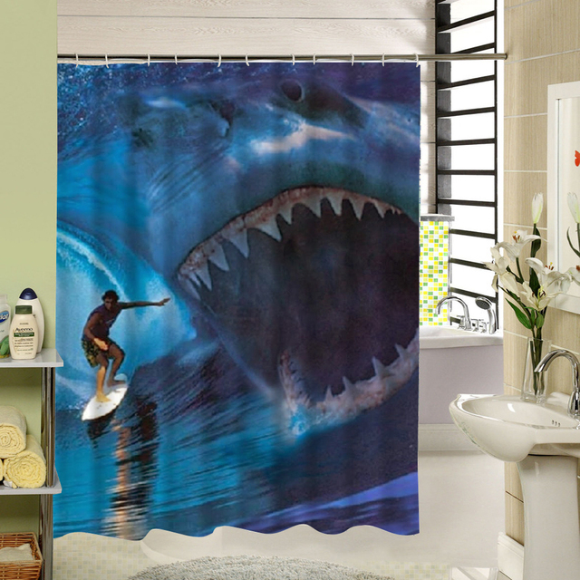 Ocean Wave And Shark Polyester Fabric Shower Curtain Blue Water Resistant  For Hotel Bath Decor