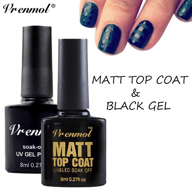 Matte Black Gel Nail Polish: Vrenmol Nail Set Black Color & Matt Matte Top Coat Gel