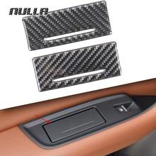 NULLA Carbon Fiber Car Interior Rear Door Armrest Cigarette Ashtray Cover Trim Decoration Sticker for AUDI Q7 2016 2017