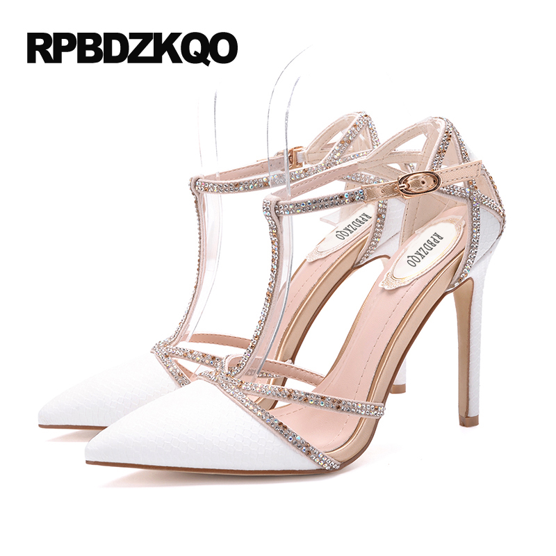 Chaussures peau de serpent Ultra Top qualité T sangle ivoire grande taille Scarpin bout pointu dames talons hauts mariée mariage concepteur pompes 9