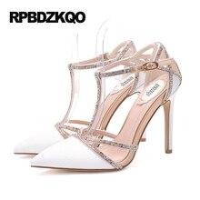 Shoes Snakeskin Ultra Top Quality T Strap Ivory Big Size Scarpin Pointed Toe Ladies High Heels Bridal Wedding Designer Pumps 9