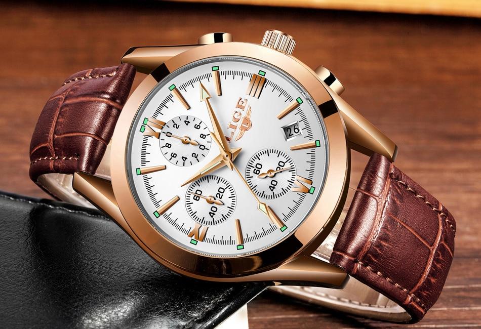 relógio de couro dos homens relógios marca