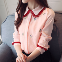 2019 New Sweet chiffon blouse tops women Peter pan Collar long Sleeve Embroidery shirts women plus size white pink blue blusas