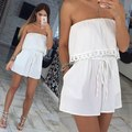 Off Shoulder Sleeveless Lace patchwork solid regular chiffon playsuits women's  feminina summer Rubber Rompers pocket beach
