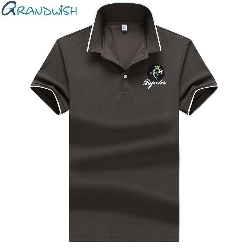 Grandwish Men's   Polo   Short Sleeve Solid Color Summer Clothing Cotton Embroidery Breathable Anti-pilling   Polo   Shirt Clothes,NA026