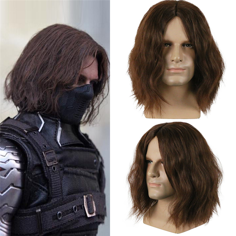 Captain America Civil War Winter Soldier Bucky Barnes Costume Cosplay Dark Brown Wigs Party Halloween Hair Toupee with Hairnet